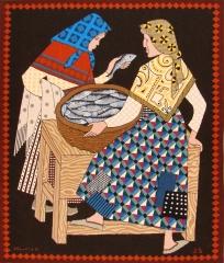 Titulo: vendendo peixe dise�o del pintor carlos maside. medidas: 1,23x1,45 cm. autora: josefina sede
