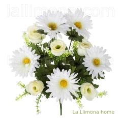 Ramo artificial flores gerberas rosas blancas 1 - la llimona home