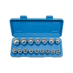 Juego 16 llaves de vaso bi-hexagonal cortos 1/2