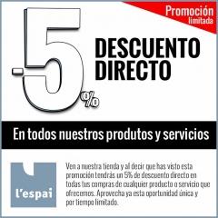 5% de descuento directo en cualquier producto o servicio