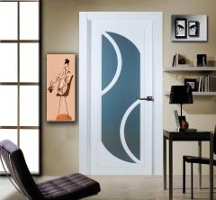 Puerta vidriera lacada en blanco con cristal mate al corte