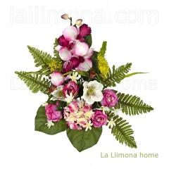 Ramos todos los santos. ramo artificial flores rosas orqu�deas cereza con hojas 50 - la llimona home