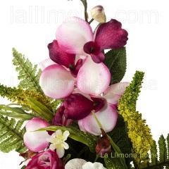 Todos los santos. ramo artificial flores rosas orqu�deas cereza con hojas 50 1 - la llimona home
