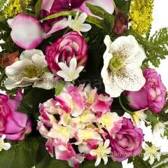 Todos los Santos. Ramo artificial flores rosas orqu�deas cereza con hojas 50 2 - La Llimona home