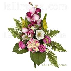 Todos los Santos. Ramo artificial flores rosas orqu�deas cereza con hojas 50 3 - La Llimona home