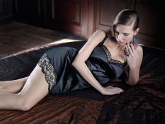 Camison diamond de primadonna. camison de raso negro muy elegante. lenceriaemi.com