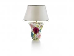 Lámpara de sobremesa ondulada, con motivos florales, brighton. cerámica san marco.