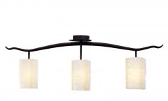 Plaf�n o l�mpara de techo de forja cl�sica y  tres tulipas vidrio, alexia.
