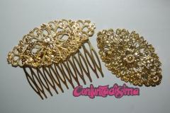 Broches y peinas de color dorado, plata brillante, dorado viejo y plata  vieja