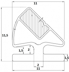Goma iman perfil aluminio 45�