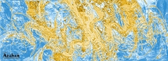 Abstracto azul-33  Lienzo sobre bastidor  Listo para colgar  Medidas  55 x 150 cm  Otras medidas con
