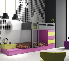 Dormitorio juvenil literas de muebles jjp colecci�n infinity 19.