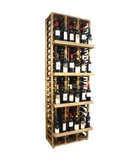 Botellero expositor en madera de pino,capacidad para 156 botellas, medidas 204*68*38cm