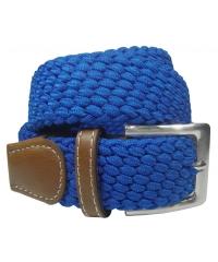 Cintur�n textil trenzado el�stco en color azul�n
