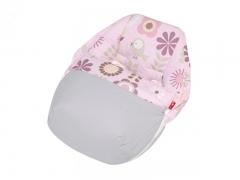 Saco porta beb� sushi loto rosa, alegre estampado sobre fondo rosa  y combinado en gris. sal de coc�