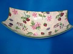 Frutero, rectangular cer�mica, decorado fresas