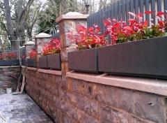 Plantación de seto en jardineras.
