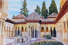Patio de los Leones de la Alhambra de Granada. Mural de 30x45cm