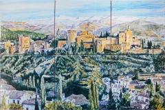 Vista de la Alhambra desde el Mirador de San Nicolás. Mural de azulejos de 30x45cm.