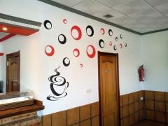 rotulación de pared para cafetería