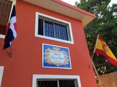 Rótulo para vivienda colocado en fachada. Mural de azulejos 120x90cm.
