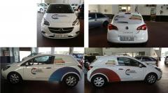 Nuestro ultimo proyecto de rotulaci�n, utilizamos los trazos del logo para decorar el coche, en la p