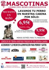 Nuestro cartel con ofertas en lavadero canino, desde 6,95 eur