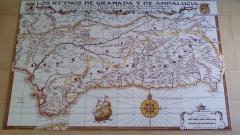 Mural cerámico Mapa antiguo de Andalucía para Bocadillo Restaurant NYC. 210x135cm.