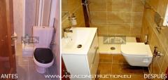 Antes y después. reforma baño moderno gres corten de tau, barcelona, area construction technology