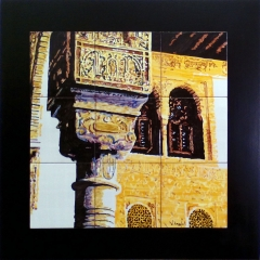 Rincón de la Alhambra. Mural de azulejos 45x45 cm. sobre madera (medidas totales 60x60cm)