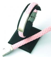 Pulseras para grabar. trenza de cuero sint�tico y acero inoxidable rosa