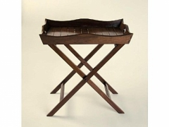 Mesita auxiliar plegable bandeja francesa, madera de teka. taller de las indias.