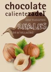 Chocolate Caliente ZADEL con trocitos reales de Avellanas.