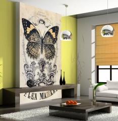 Fotomural vintage con imagen de mariposas