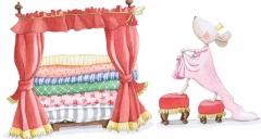 Vinilo para habitaciones infantiles la princesa y el guisante. de sue�os de cig�e�a.