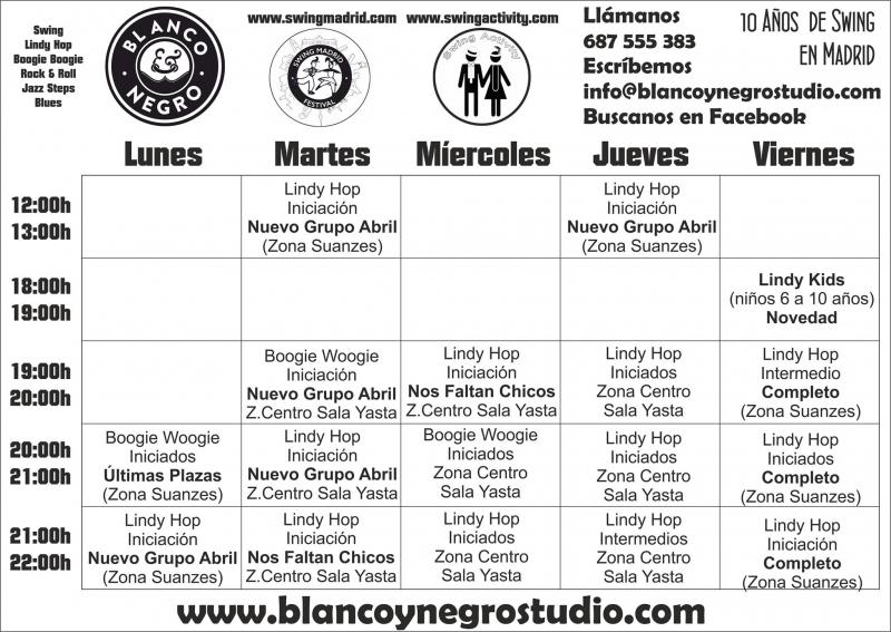 Nuevos Grupos de Lindy Hop / Swing. Horarios de Blanco y Negro Studio para Abril.