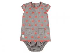 Vestido y culotte para beb� polar coral. hilo de algod�n, de baby clic.