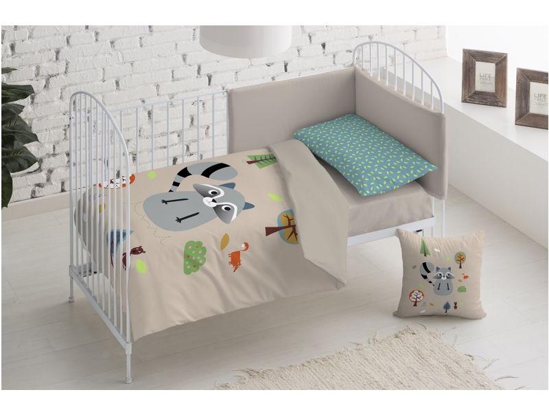 Funda n�rdica infantil para cama y cuna Mapache. Sal de Coc�.