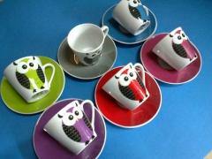 Tazas caf� moka 6+6 platos a juego, buhos 23 eur envio gratis