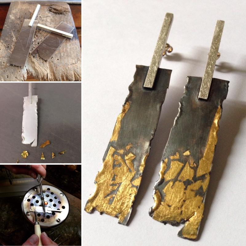 Pendientes de plata con laminas de oro