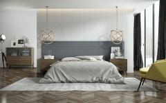 Dormitorio fabricado en chapa de nogal