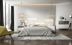 Dormitorio fabricado en chapa de roble y laca blanca mate