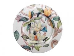 Bajoplato de cerámica Kobus. Diseño de grandes flores. Cerámica San Marco.