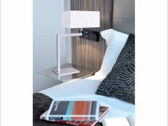 Lámpara de sobremesa Novanta. Moderno diseño de hierro en forma de L. Decorluc