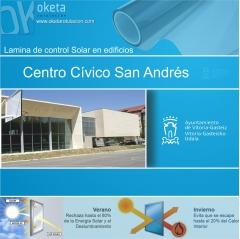 lamina solar Centro Cívico San Andrés-Vitoria . Rotulos Oketa