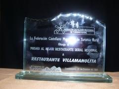 Premio al mejor restaurante rural  castilla la mancha 2009 otorgado por fecamtur