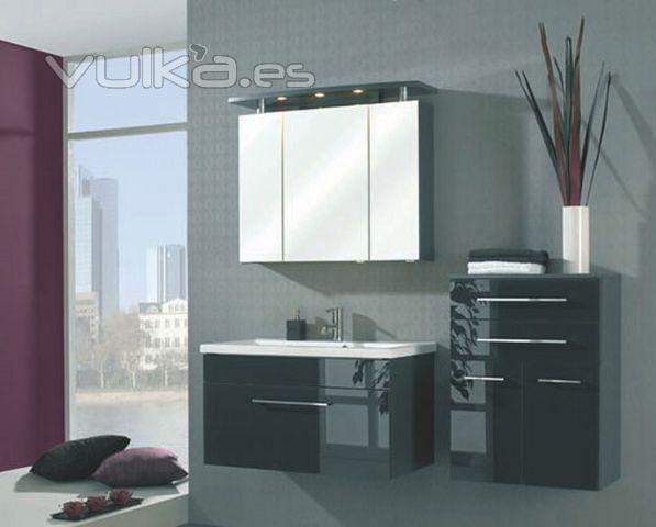 Armarios De Baño Colgados:mueble de baño en negro y detalles blancos