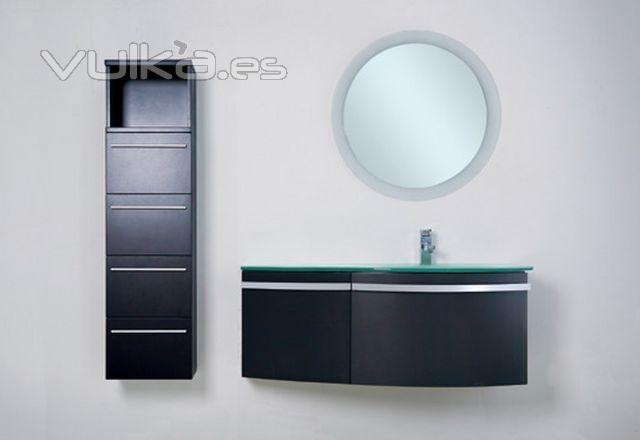 Foto mueble de ba o lacado en negro con mueble auxiliar for Muebles colgados bano