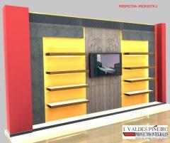 Infografia para decoracion de salon en vivienda unifamiliar, malaga