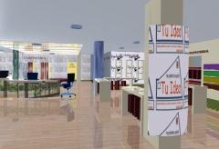 Infografia de interior de local comercial destinado a instalaciones comerciales